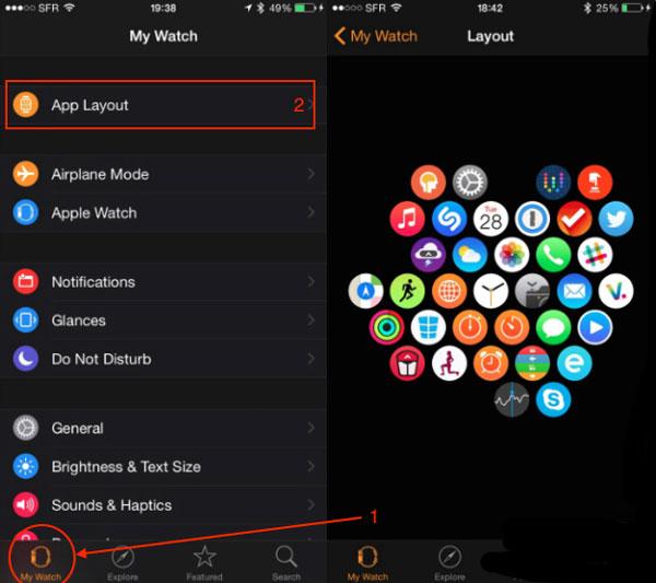 تعرف على كيفية نقل رموز التطبيقات ونقلها على Apple Watch