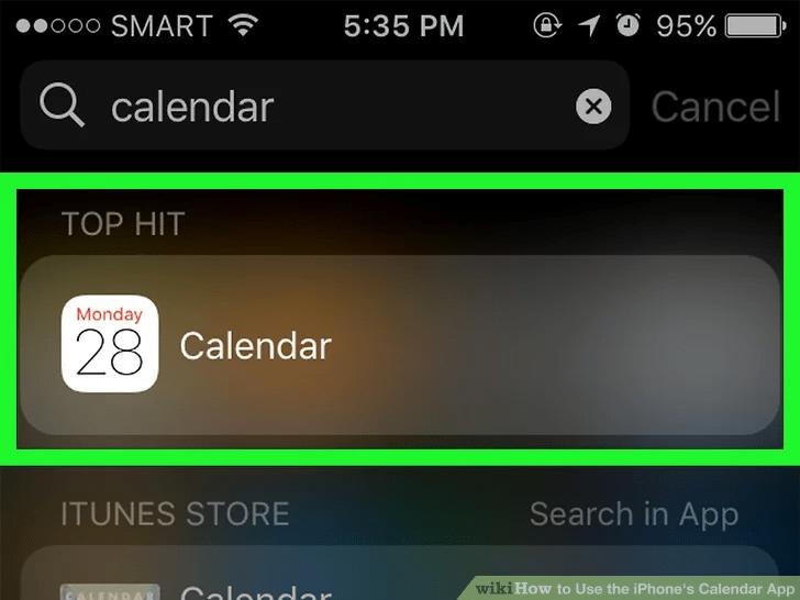 ابحث في تطبيق التقويم على جهاز iPhone الخاص بك