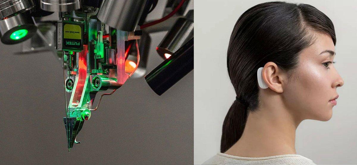 أداة يمكن ارتداؤها للاتصال بالخلايا العصبية وصورة لروبوت جراح نورلينك