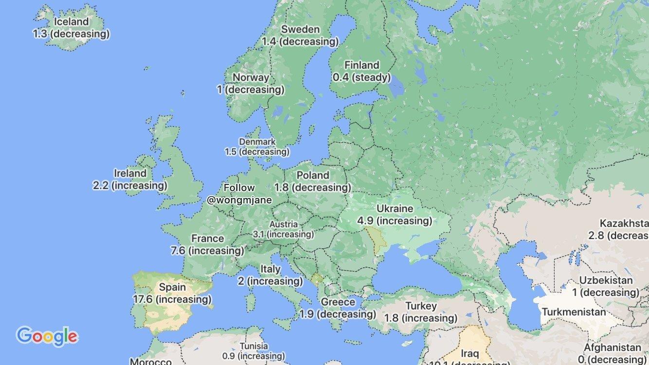 الطبقة الأوروبية Covid-19 في خريطة جوجل