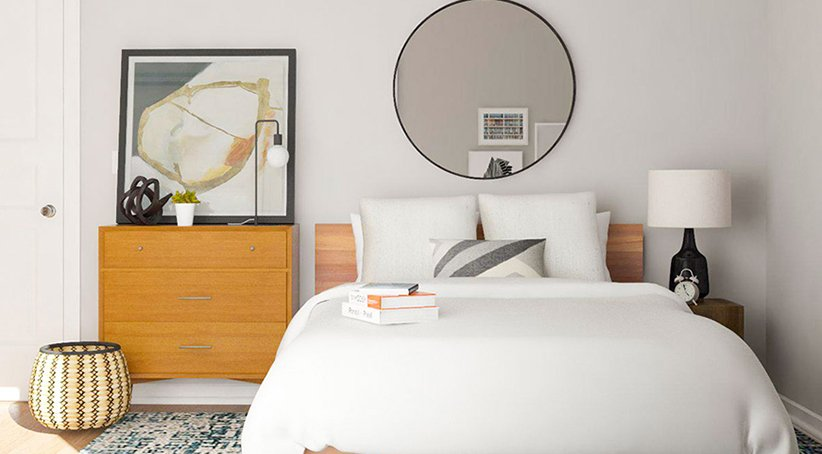نموذج سرير بسيط لغرفة نوم صغيرة