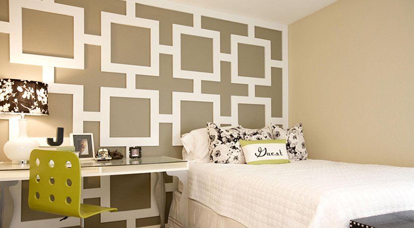 نموذج ورق حائط ثلاثي الأبعاد لغرفة النوم