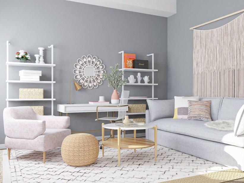 تصميم غرفة معيشة صغيرة بألوان زاهية
