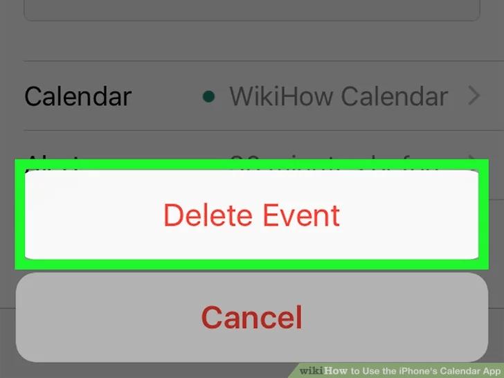 لحذف الحدث ، انقر فوق حذف الحدث مرة أخرى.