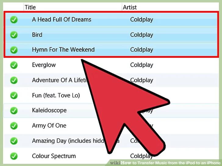 حدد الأغاني وقوائم التشغيل التي تريد نقلها إلى iTunes
