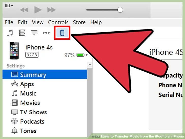 انقر فوق iPhone الخاص بك في الزاوية اليسرى العليا من نافذة iTunes