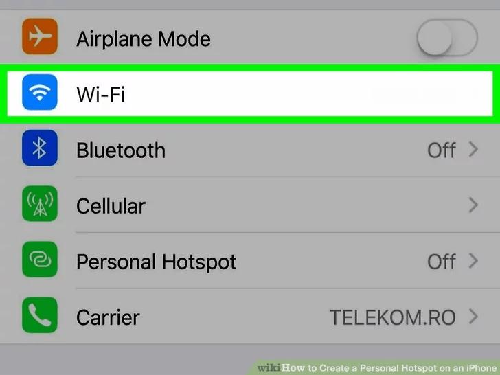 افتح قائمة WiFi