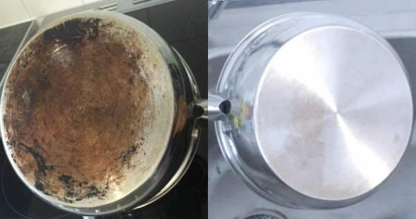 تنظيف الجزء الخلفي من وعاء الجرانيت