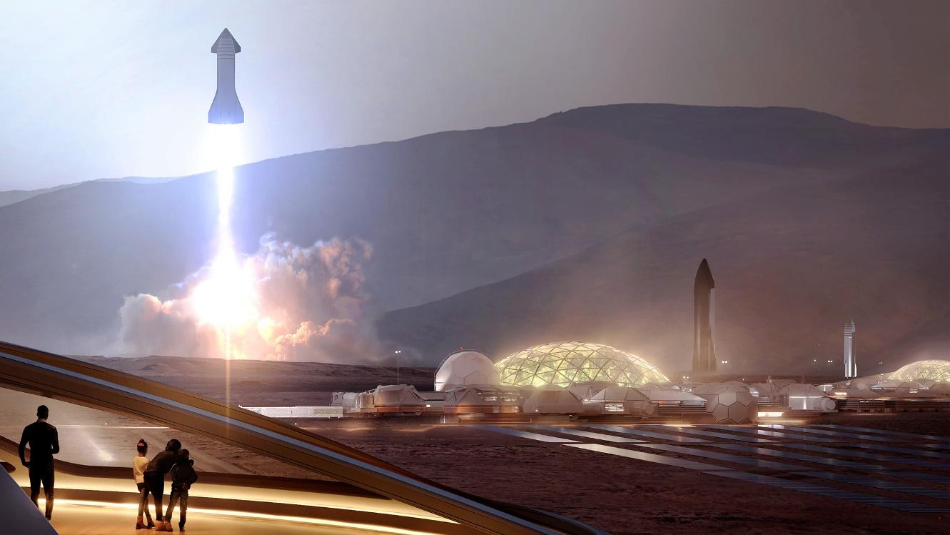 إطلاق SpaceX Starship من Mars Base Alpha humanMars.net