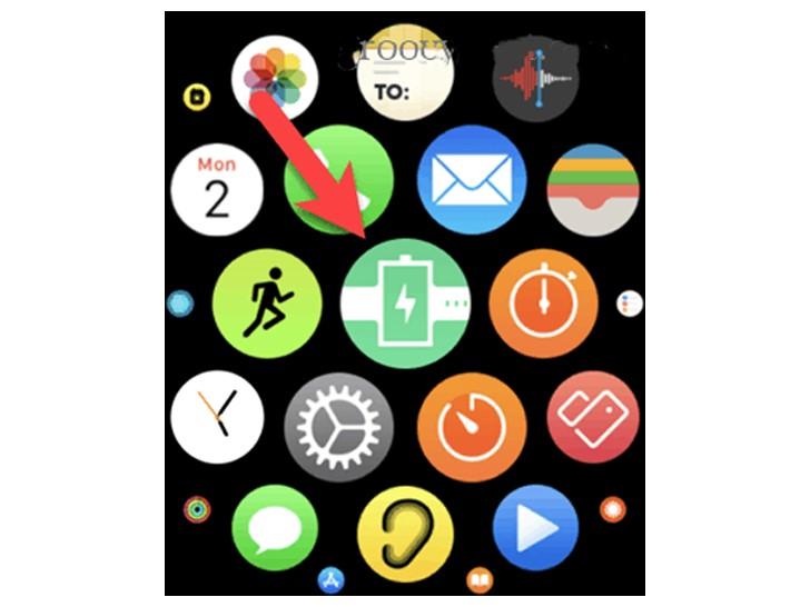 اضغط على أيقونة PhoneBattery في Apple Watch