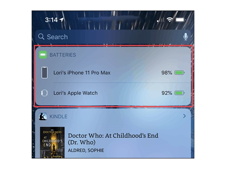 قدرات عنصر واجهة البطارية في Apple Watch