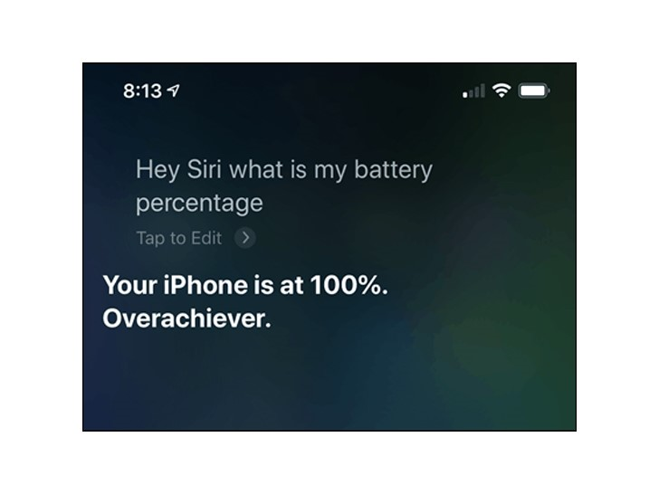 عرض نسبة شحن البطارية بواسطة Siri
