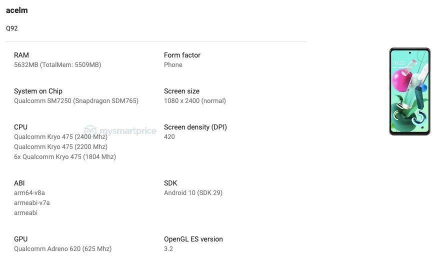 مواصفات هاتف LG Q92 5G