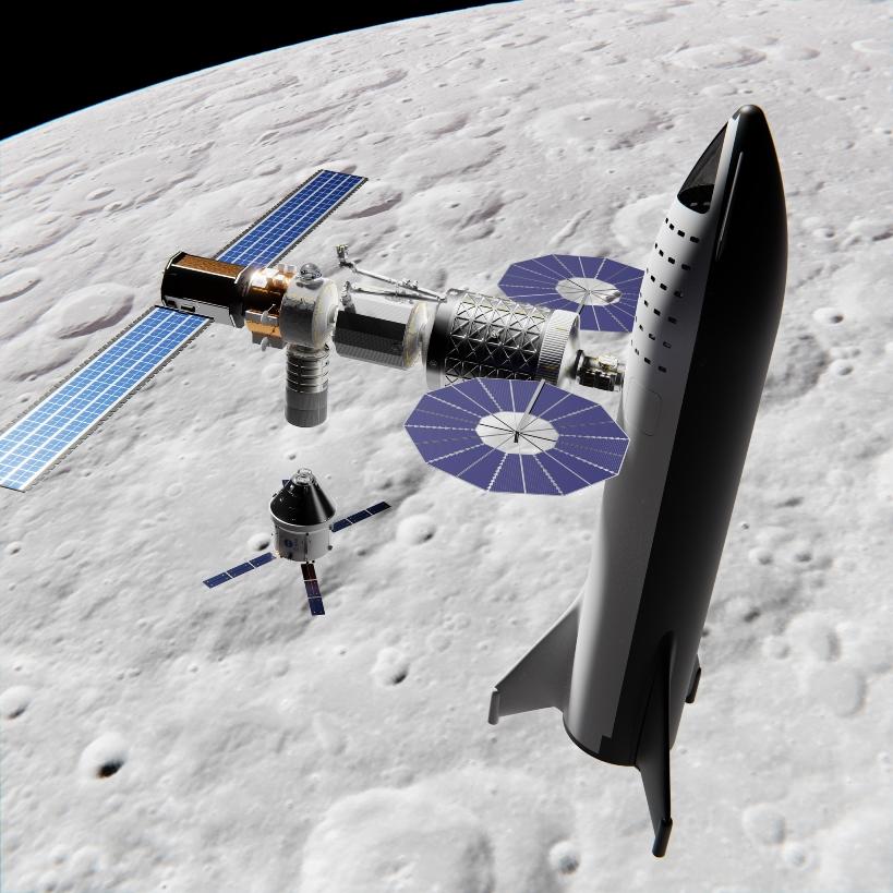 رست سفينة SpaceX Big Falcon على بوابة منصة Lunar Orbital Platform بواسطة Mack Crawford brickmack