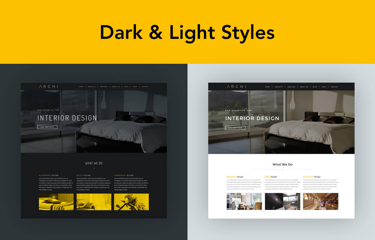 Archi - موضوع التصميم الداخلي WordPress - 4