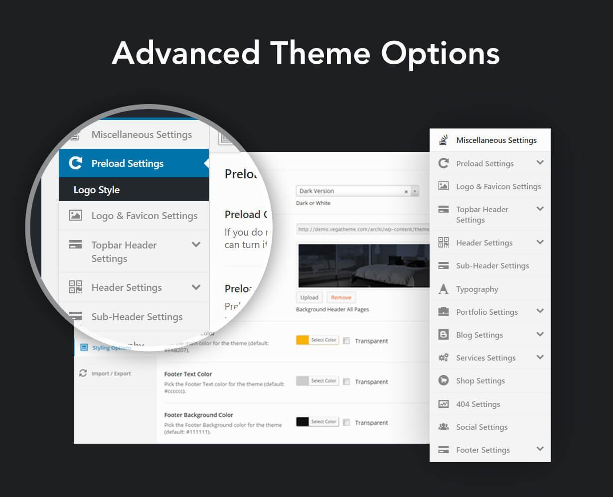 Archi - التصميم الداخلي لموضوع WordPress - 12