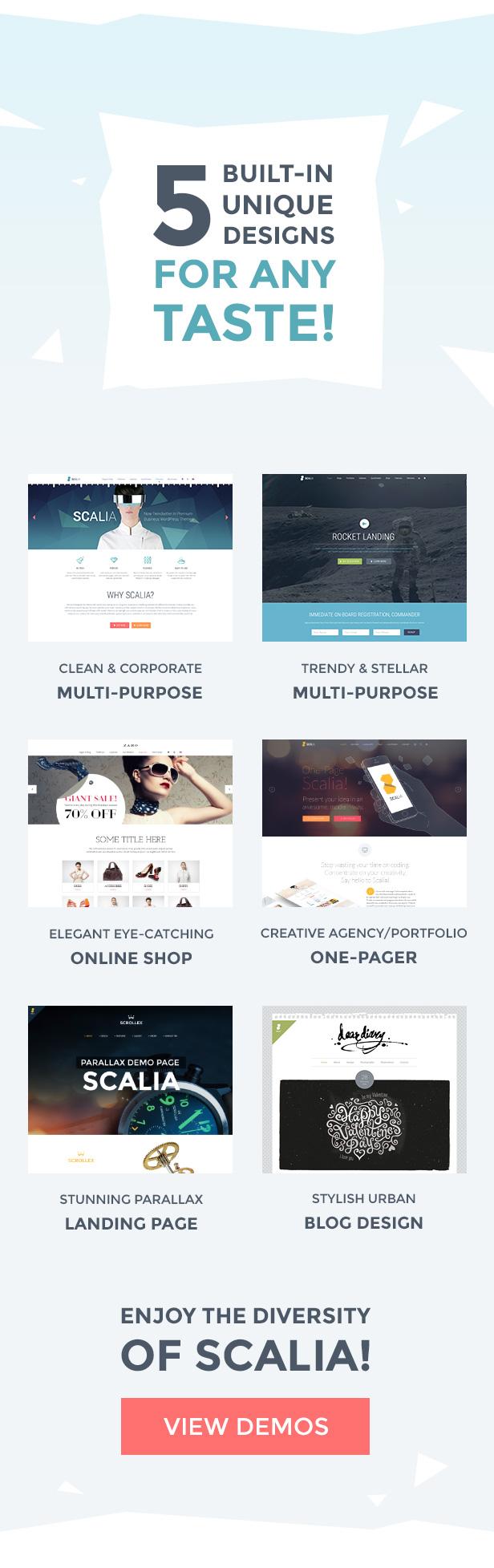 سكاليا - عمل متعدد المفاهيم ، تسوق ، صفحة واحدة ، سمة مدونة - 1