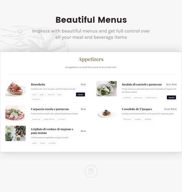 القوائم الجميلة: اعجب بقوائم الطعام الجميلة وتحكم بشكل كامل في جميع وجباتك ومشروباتك
