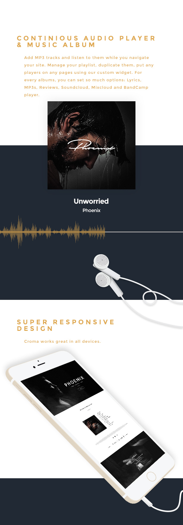 Croma - سمة WordPress للموسيقى المستجيبة
