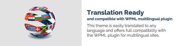 الترجمة جاهزة ومتوافقة مع ملحق WPML متعدد اللغات يمكن ترجمة هذا المظهر بسهولة إلى أي لغة ويوفر توافقًا كاملاً مع ملحق WPML للمواقع متعددة اللغات.