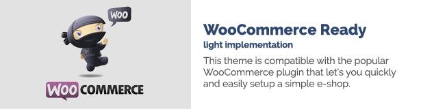 تنفيذ WooCommerce Ready light. هذا المظهر متوافق مع البرنامج المساعد WooCommerce الشهير الذي يتيح لك إعداد متجر إلكتروني بسيط بسرعة وسهولة.