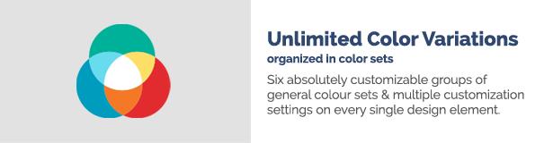 تباينات ألوان غير محدودة منظمة في مجموعات ألوان تعمل ست مجموعات قابلة للتخصيص تمامًا من الألوان العامة على تعيين إعدادات تخصيص متعددة على كل عنصر تصميم فردي.