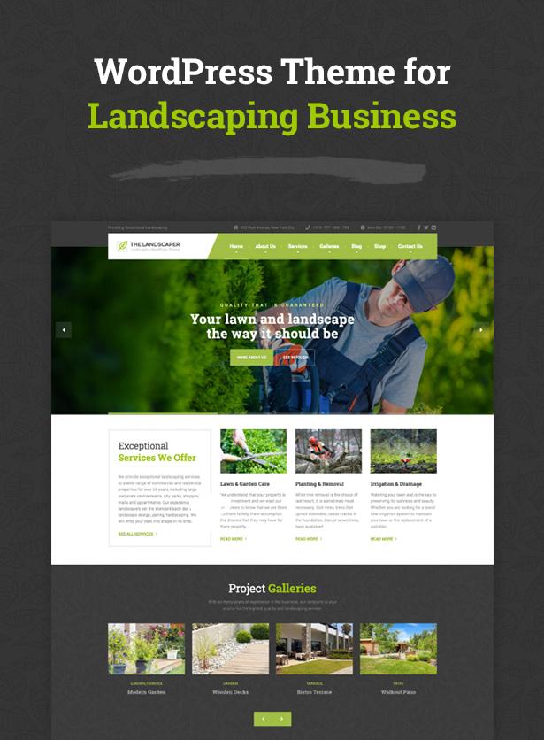 تنسيق الحدائق - سمة ووردبريس للمناظر الطبيعية