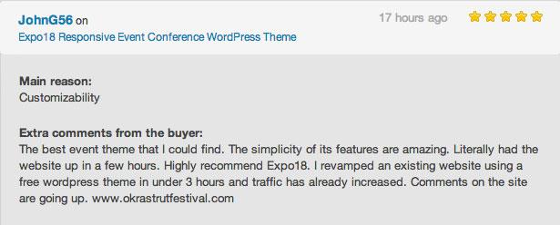 مراجعة موضوع WordPress الحدث