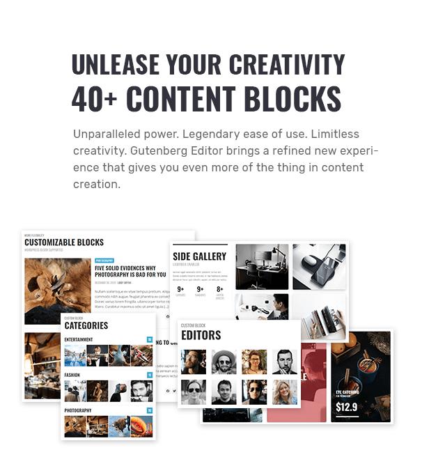 أطلق العنان لإبداعك مع أكثر من 40 كتلة محتوى