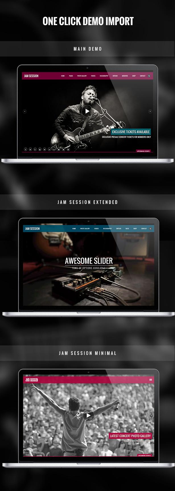 موضوع Music WordPress - JamSession - استيراد تجريبي بنقرة واحدة
