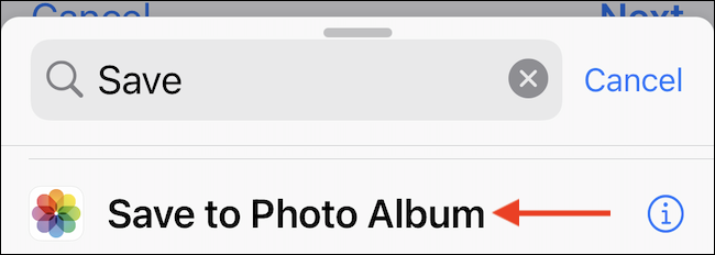 انقر فوق حفظ في ألبوم الصور