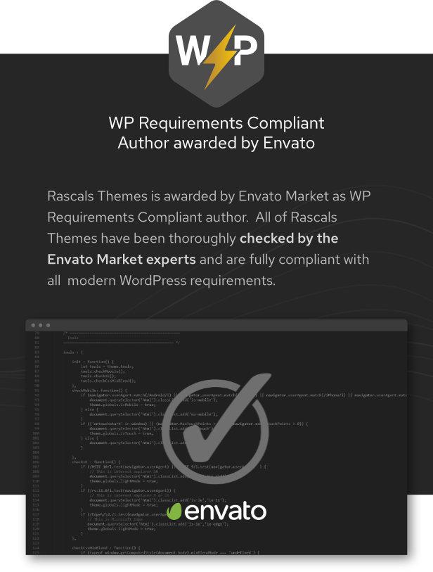 تم منح Rascals Themes بواسطة Envato Market كمؤلف متوافق مع متطلبات WP