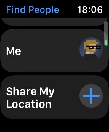 اضغط على مشاركة موقعي على Apple Watch