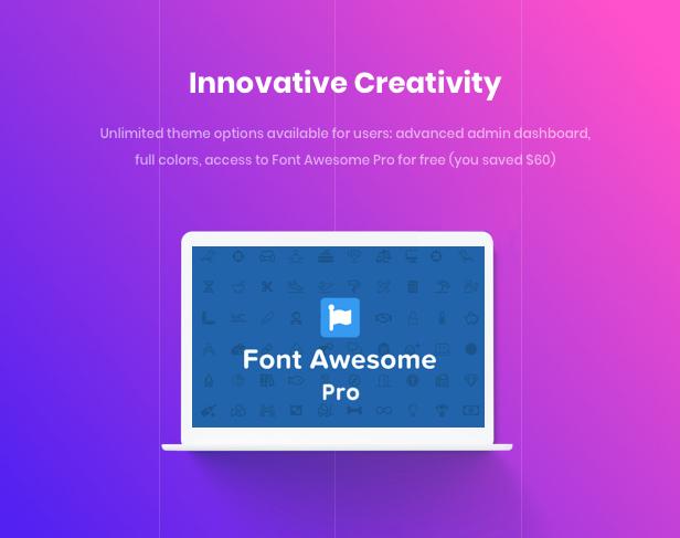 سمة WordPress للوكالة التجارية - إبداع مبتكر باستخدام Font Awesome Pro بقيمة 60 دولارًا