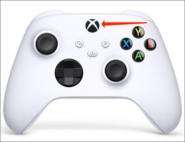 قم بتشغيل زر الطاقة لجهاز التحكم Xbox