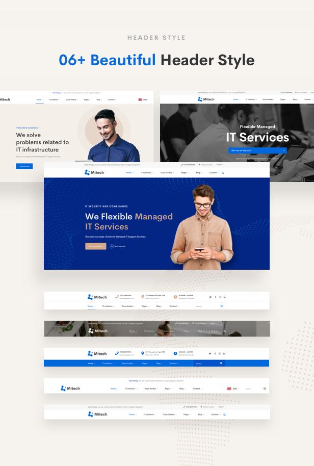 حلول تكنولوجيا المعلومات Mitech - سمة ووردبريس للتقنية وحلول تكنولوجيا المعلومات والخدمات - أنماط العنوان