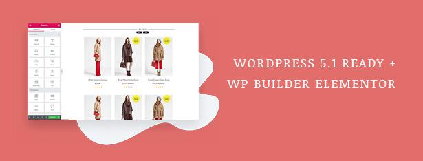 Fashion WooCommerce WordPress Theme مع تحديثات WP 5.1 و Elementor