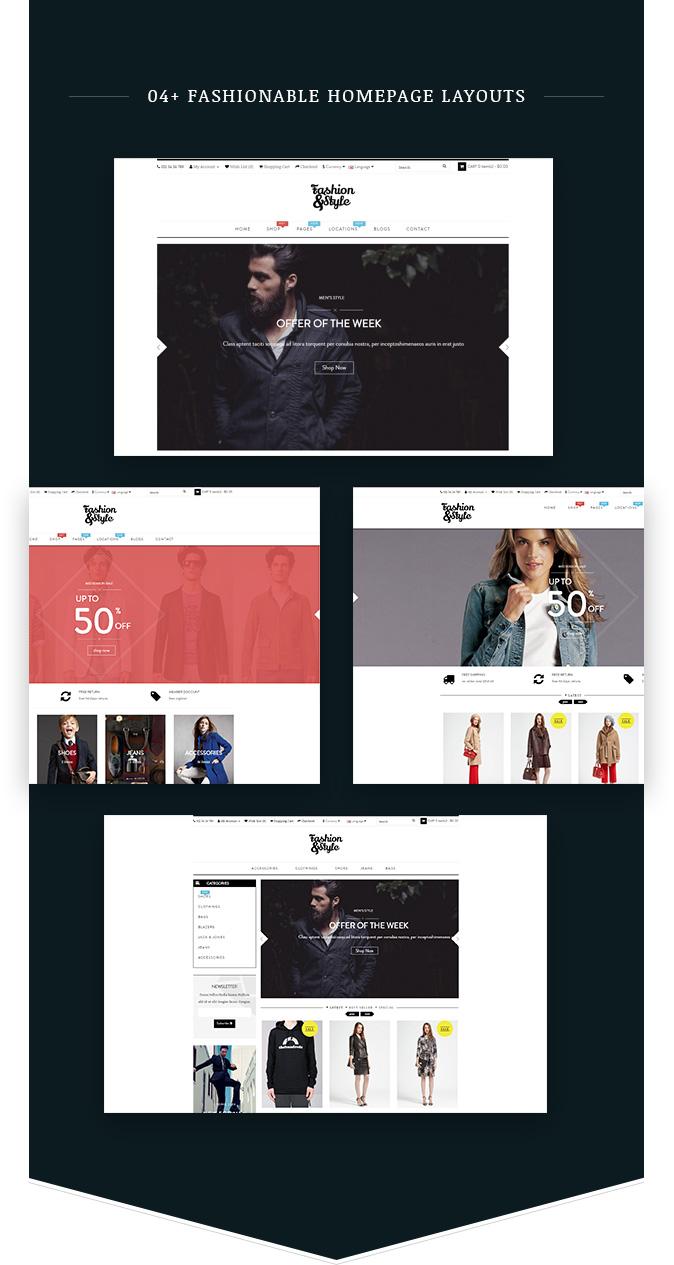 04+ عروض توضيحية للصفحة الرئيسية أزياء WooCommerce مستجيبة WordPress موضوع