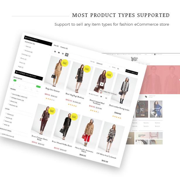 قم ببيع أي من منتجات fahion مع موضوع Fashion WooCommerce WordPress