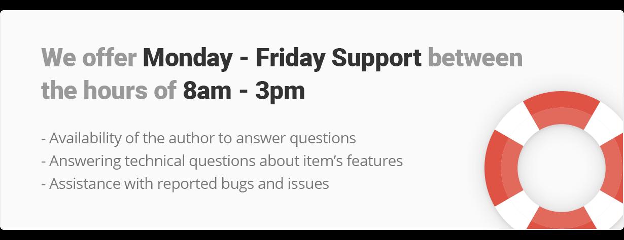 نقدم الدعم من الاثنين إلى الجمعة والعمل بين الساعة 8 صباحًا و 3 مساءً.  توفر المؤلف للإجابة على الأسئلة ، والإجابة على الأسئلة الفنية حول ميزات العنصر ، والمساعدة في الأخطاء والمشكلات التي تم الإبلاغ عنها