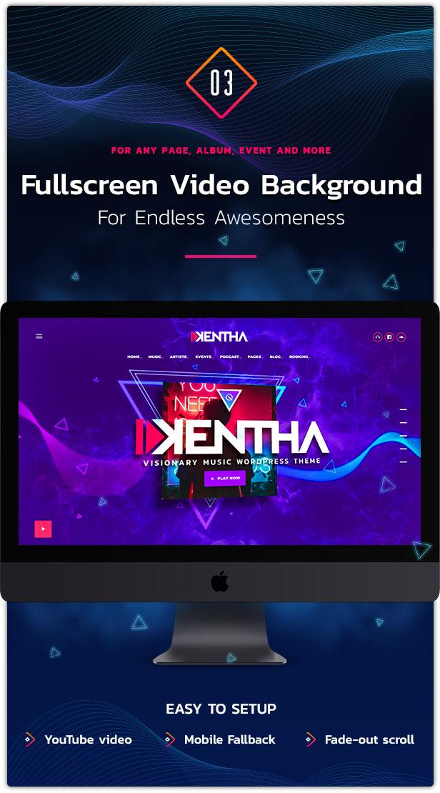 خلفية فيديو بملء الشاشة WordPress