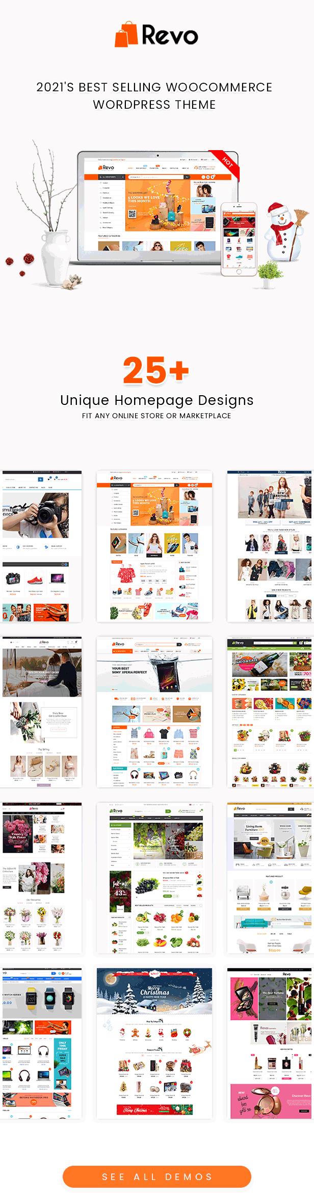 الصفحات الرئيسية لـ Revo Best WooCommerce Theme