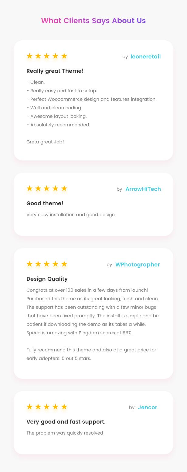 Fashion WooCommerce WordPress Theme - مراجعات العملاء