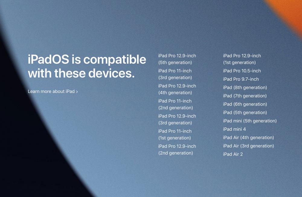 iPad متوافق مع iPadOS 15
