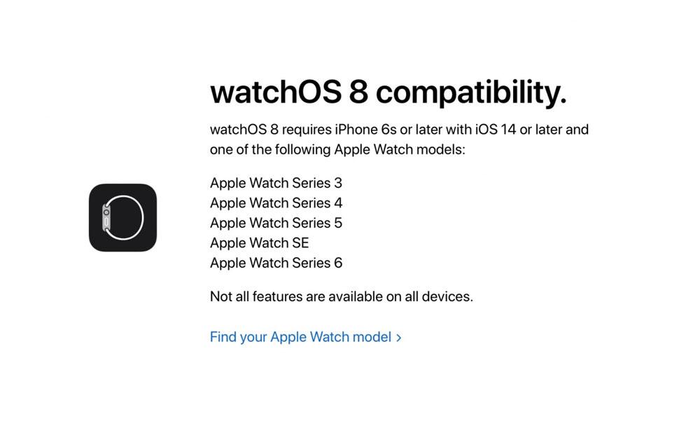 ساعات Apple المتوافقة مع watchOS 8